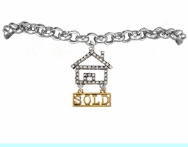 """<bR>                            EXCLUSIVELY OURS!! <Br>                       AN ALLAN ROBIN DESIGN!! <BR>              CLICK HERE TO SEE 1000+ EXCITING <BR>                    CHANGES THAT YOU CAN MAKE! <BR>                 LEAD, NICKEL & CADMIUM FREE!! <BR> W1722B2 - SILVER AND GOLD TONE REALTY """"SOLD"""" <BR>            CLEAR CRYSTAL HOUSE CHARM & BRACELET <BR>                     FROM $5.98 TO $12.85 �2015"""