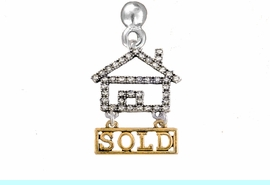 """<bR>                            EXCLUSIVELY OURS!! <Br>                       AN ALLAN ROBIN DESIGN!! <BR>              CLICK HERE TO SEE 1000+ EXCITING <BR>                    CHANGES THAT YOU CAN MAKE! <BR>                 LEAD, NICKEL & CADMIUM FREE!! <BR> W1722E2 - SILVER AND GOLD TONE REALTY """"SOLD"""" <BR>            CLEAR CRYSTAL HOUSE CHARM ON A POST <BR>         EARRING  FROM $5.98 TO $12.85 �2015"""