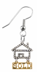 "<bR>                            EXCLUSIVELY OURS!! <Br>                       AN ALLAN ROBIN DESIGN!! <BR>              CLICK HERE TO SEE 1000+ EXCITING <BR>                    CHANGES THAT YOU CAN MAKE! <BR>                 LEAD, NICKEL & CADMIUM FREE!! <BR> W1722E1- SILVER AND GOLD TONE REALTY ""SOLD"" <BR>    CLEAR CRYSTAL HOUSE CHARM ON A FISHHOOK <BR>            EARRING FROM $5.98 TO $12.85 �2015"