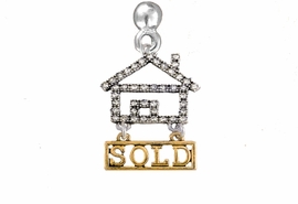 "<bR>                            EXCLUSIVELY OURS!! <Br>                       AN ALLAN ROBIN DESIGN!! <BR>              CLICK HERE TO SEE 1000+ EXCITING <BR>                    CHANGES THAT YOU CAN MAKE! <BR>                 LEAD, NICKEL & CADMIUM FREE!! <BR> W1722E2 - SILVER AND GOLD TONE REALTY ""SOLD"" <BR>            CLEAR CRYSTAL HOUSE CHARM ON A POST <BR>         EARRING  FROM $5.98 TO $12.85 �2015"