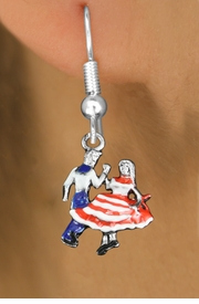 <bR>               EXCLUSIVELY OURS!!<BR>         AN ALLAN ROBIN DESIGN!!<BR>CLICK HERE TO SEE 1000+ EXCITING<BR>   CHANGES THAT YOU CAN MAKE!<BR>                  LEAD & NICKEL FREE!! <BR>W1300SE -  SILVER TONE HAND PAINTED <BR>SQUARE DANCE DANCERS CHARM EARRINGS  <BR>      FROM $4.50 TO $8.35 �2012