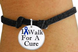 "<bR>               EXCLUSIVELY OURS!!<BR>         AN ALLAN ROBIN DESIGN!!<BR>CLICK HERE TO SEE 1000+ EXCITING <BR>   CHANGES THAT YOU CAN MAKE! <BR>            LEAD & NICKEL FREE!!<BR>W1305SB - BLUE RIBBON AWARENESS <BR>""I WALK FOR A CURE"" CHILD'S BRACELET <BR>      FROM $4.15 TO $8.00 �2012"