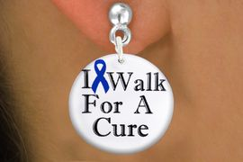 "<bR>                    EXCLUSIVELY OURS!!<BR>              AN ALLAN ROBIN DESIGN!!<BR>     CLICK HERE TO SEE 1000+ EXCITING<BR>        CHANGES THAT YOU CAN MAKE!<BR>                LEAD & NICKEL FREE!!<BR>W1305SE - BLUE RIBBON AWARENESS <BR> ""I WALK FOR A CURE"" CHARM EARRINGS <BR>      FROM $4.50 TO $8.35 �2012"