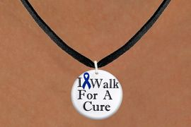 "<bR>                   EXCLUSIVELY OURS!!<BR>             AN ALLAN ROBIN DESIGN!!<BR>    CLICK HERE TO SEE 1000+ EXCITING<BR>       CHANGES THAT YOU CAN MAKE!<BR>                   LEAD & NICKEL FREE!! <BR>W1305SN - BLUE RIBBON AWARENESS <BR>""I WALK FOR A CURE"" CHARM & NECKLACE <BR>      FROM $4.50 TO $8.35 �2012"