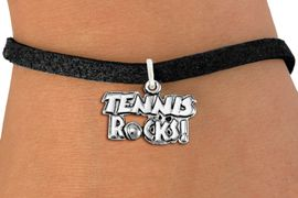 "<bR>                    EXCLUSIVELY OURS!! <BR>               AN ALLAN ROBIN DESIGN!!<BR>      CLICK HERE TO SEE 1000+ EXCITING <BR>         CHANGES THAT YOU CAN MAKE! <BR>                    LEAD & NICKEL FREE!! <BR>           W1379SB - ""TENNIS ROCKS"" <BR>       SILVER TONE CHARM & BRACELET <Br>             FROM $4.15 TO $8.00 &#169;2012"