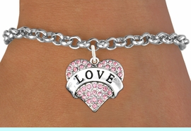 """<bR>               EXCLUSIVELY OURS!!<Br>         AN ALLAN ROBIN DESIGN!! <BR>CLICK HERE TO SEE 120+ EXCITING<BR>   CHANGES THAT YOU CAN MAKE!<BR>    LEAD, NICKEL & CADMIUM FREE!!<BR>  W1137SB - ROSE CRYSTAL """"LOVE"""" <BR>       HEART CHARM & BRACELET <BR>      FROM $5.40 TO $9.85 �2012"""