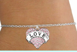 """<bR>               EXCLUSIVELY OURS!!<Br>         AN ALLAN ROBIN DESIGN!! <BR>CLICK HERE TO SEE 120+ EXCITING<BR>   CHANGES THAT YOU CAN MAKE!<BR>    LEAD, NICKEL & CADMIUM FREE!!<BR>  W1137SB - ROSE CRYSTAL """"LOVE"""" <BR>HEART CHARM & CHILDS BRACELET <BR>      FROM $5.40 TO $9.85 �2012"""