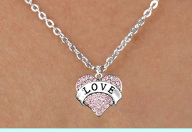 """<bR>              EXCLUSIVELY OURS!!<Br>        AN ALLAN ROBIN DESIGN!!<BR>CLICK HERE TO SEE 120+ EXCITING<BR>   CHANGES THAT YOU CAN MAKE!<BR>  LEAD, NICKEL & CADMIUM FREE!!<BR>W1137SN - ROSE CRYSTAL """"LOVE"""" <BR>HEART CHARM & CHILDS NECKLACE <BR>     FROM $5.40 TO $9.85 �2012"""