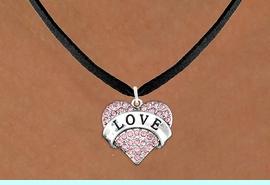 """<bR>              EXCLUSIVELY OURS!!<Br>        AN ALLAN ROBIN DESIGN!!<BR>CLICK HERE TO SEE 120+ EXCITING<BR>   CHANGES THAT YOU CAN MAKE!<BR>  LEAD, NICKEL & CADMIUM FREE!!<BR>W1137SN - ROSE CRYSTAL """"LOVE"""" <BR>       HEART CHARM & NECKLACE <BR>     FROM $5.40 TO $9.85 �2012"""