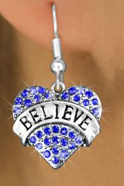 "<bR>                 EXCLUSIVELY OURS!!<Br>           AN ALLAN ROBIN DESIGN!!<BR>  CLICK HERE TO SEE 120+ EXCITING<BR>     CHANGES THAT YOU CAN MAKE!<BR>     LEAD, NICKEL & CADMIUM FREE!!<BR>W1210SE - BLUE CRYSTAL ""BELIEVE"" <BR>            HEART CHARM EARRINGS <BR>       FROM $4.95 TO $10.00 �2012"