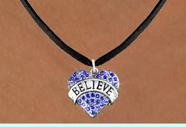 """<bR>               EXCLUSIVELY OURS!!<Br>         AN ALLAN ROBIN DESIGN!! <BR>CLICK HERE TO SEE 120+ EXCITING<BR>   CHANGES THAT YOU CAN MAKE!<BR>    LEAD, NICKEL & CADMIUM FREE!!<BR>W1210SN - BLUE CRYSTAL """"BELIEVE"""" <BR>        HEART CHARM & NECKLACE <BR>      FROM $5.40 TO $9.85 �2012"""