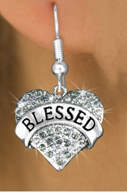"<bR>                   EXCLUSIVELY OURS!!<Br>             AN ALLAN ROBIN DESIGN!!<BR>    CLICK HERE TO SEE 120+ EXCITING<BR>       CHANGES THAT YOU CAN MAKE!<BR>       LEAD, NICKEL & CADMIUM FREE!!<BR>W1211SE - SMOKY CRYSTAL ""BLESSED"" <BR>             HEART CHARM EARRINGS <BR>        FROM $4.95 TO $10.00 �2012"
