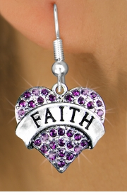 "<bR>                  EXCLUSIVELY OURS!!<Br>            AN ALLAN ROBIN DESIGN!!<BR>   CLICK HERE TO SEE 120+ EXCITING<BR>      CHANGES THAT YOU CAN MAKE!<BR>      LEAD, NICKEL & CADMIUM FREE!!<BR>W1212SE - PURPLE CRYSTAL ""FAITH"" <BR>            HEART CHARM EARRINGS <BR>       FROM $4.95 TO $10.00 �2012"