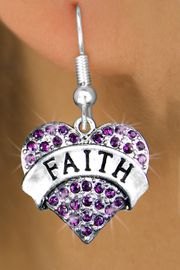 """<bR>                  EXCLUSIVELY OURS!!<Br>            AN ALLAN ROBIN DESIGN!!<BR>   CLICK HERE TO SEE 120+ EXCITING<BR>      CHANGES THAT YOU CAN MAKE!<BR>      LEAD, NICKEL & CADMIUM FREE!!<BR>W1212SE - PURPLE CRYSTAL """"FAITH"""" <BR>            HEART CHARM EARRINGS <BR>       FROM $4.95 TO $10.00 �2012"""