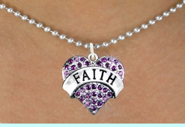 """<bR>                 EXCLUSIVELY OURS!!<Br>           AN ALLAN ROBIN DESIGN!! <BR>  CLICK HERE TO SEE 120+ EXCITING<BR>     CHANGES THAT YOU CAN MAKE!<BR>    LEAD, NICKEL & CADMIUM FREE!!<BR>W1212SN - PURPLE CRYSTAL """"FAITH"""" <BR>          HEART CHARM & NECKLACE <BR>         FROM $5.40 TO $9.85 �2012"""
