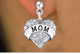 """<bR>                 EXCLUSIVELY OURS!!<Br>           AN ALLAN ROBIN DESIGN!!<BR>  CLICK HERE TO SEE 120+ EXCITING<BR>     CHANGES THAT YOU CAN MAKE!<BR>     LEAD, NICKEL & CADMIUM FREE!!<BR>W1215SE - AUSTRIAN CRYSTAL """"MOM"""" <BR>           HEART CHARM EARRINGS <BR>       FROM $4.95 TO $10.00 �2012"""