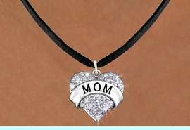"""<bR>                  EXCLUSIVELY OURS!!<Br>            AN ALLAN ROBIN DESIGN!!<BR>   CLICK HERE TO SEE 120+ EXCITING<BR>      CHANGES THAT YOU CAN MAKE!<BR>     LEAD, NICKEL & CADMIUM FREE!!<BR>W1215SN - AUSTRIAN CRYSTAL """"MOM"""" <BR>          HEART CHARM & NECKLACE <BR>         FROM $5.40 TO $9.85 �2012"""