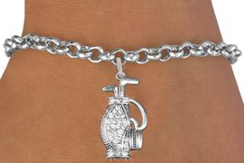 <bR>                   EXCLUSIVELY OURS!!<Br>             AN ALLAN ROBIN DESIGN!!<BR>    CLICK HERE TO SEE 120+ EXCITING<BR>       CHANGES THAT YOU CAN MAKE!<BR>       LEAD, NICKEL & CADMIUM FREE!!<BR>W1216SB - CRYSTAL GOLF BAG CHARM <Br>& BRACELET FROM $5.40 TO $9.85 �2012