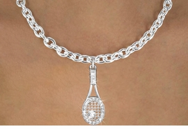 <bR>                      EXCLUSIVELY OURS!!<Br>                AN ALLAN ROBIN DESIGN!!<BR>       CLICK HERE TO SEE 120+ EXCITING<BR>          CHANGES THAT YOU CAN MAKE!<BR>           LEAD, NICKEL & CADMIUM FREE!!<BR>W1217SN - CRYSTAL TENNIS RACQUET CHARM<BR> & NECKLACE FROM $5.40 TO $9.85 �2012