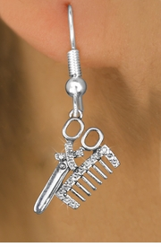 <bR>                 EXCLUSIVELY OURS!!<Br>           AN ALLAN ROBIN DESIGN!!<BR>  CLICK HERE TO SEE 120+ EXCITING<BR>     CHANGES THAT YOU CAN MAKE!<BR>     LEAD, NICKEL & CADMIUM FREE!!<BR>   W1251SE - CRYSTAL SCISSORS & <BR>COMB  SILVER TONE CHARM EARRINGS <BR>       FROM $4.95 TO $10.00 �2012