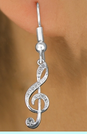 <bR>                 EXCLUSIVELY OURS!!<Br>     LEAD, NICKEL & CADMIUM FREE!!<BR>   W1252E1 - CRYSTAL TREBLE CLEF <BR>      SILVER TONE CHARM EARRINGS <BR>       $6.45  Each �2012