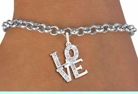 """<bR>               EXCLUSIVELY OURS!!<Br>         AN ALLAN ROBIN DESIGN!! <BR>CLICK HERE TO SEE 120+ EXCITING <BR>   CHANGES THAT YOU CAN MAKE!<BR>   LEAD, NICKEL & CADMIUM FREE!! <BR>     W1273SB - BEAUTIFUL """"LOVE"""" <BR>     CRYSTAL CHARM & BRACELET <BR>     FROM $5.40 TO $9.85 �2012"""