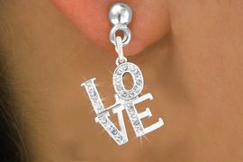 """<bR>                 EXCLUSIVELY OURS!!<Br>           AN ALLAN ROBIN DESIGN!!<BR>  CLICK HERE TO SEE 120+ EXCITING<BR>     CHANGES THAT YOU CAN MAKE!<BR>     LEAD, NICKEL & CADMIUM FREE!!<BR>         W1273SE - BEAUTIFUL """"LOVE"""" <BR>      CRYSTAL CHARM EARRINGS <BR>       FROM $4.95 TO $10.00 �2012"""