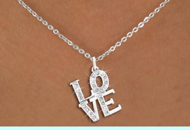 """<bR>                  EXCLUSIVELY OURS!!<Br>            AN ALLAN ROBIN DESIGN!!<BR>   CLICK HERE TO SEE 120+ EXCITING<BR>      CHANGES THAT YOU CAN MAKE!<BR>     LEAD, NICKEL & CADMIUM FREE!!<BR>        W1273SN - BEAUTIFUL """"LOVE"""" <BR>      CRYSTAL CHARM AND NECKLACE <BR>         FROM $5.40 TO $9.85 �2012"""