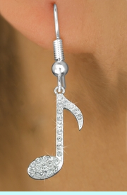 """<bR>                 EXCLUSIVELY OURS!<BR>     LEAD, NICKEL & CADMIUM FREE!<BR>         W1275E1 - """"MUSIC NOTE"""" <BR>      CRYSTAL CHARM EARRINGS <BR>       $6.45 Each �2012"""