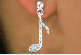 """<bR> MUSIC NOTE, EXCLUSIVELY OURS!!<Br>           AN ALLAN ROBIN DESIGN!!<BR>     LEAD, NICKEL & CADMIUM FREE!!<BR>            W1275E2 - """"MUSIC NOTE"""" <BR>         CRYSTAL CHARM EARRINGS <BR>                  $6.45 EACH �2012"""