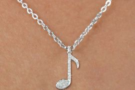 "<bR>                  EXCLUSIVELY OURS!!<Br>            AN ALLAN ROBIN DESIGN!!<BR>   CLICK HERE TO SEE 120+ EXCITING<BR>      CHANGES THAT YOU CAN MAKE!<BR>     LEAD, NICKEL & CADMIUM FREE!!<BR>        W1275SN - ""MUSIC NOTE"" <BR>CRYSTAL CHARM AND CHILDS NECKLACE <BR>         FROM $5.40 TO $9.85 �2012"