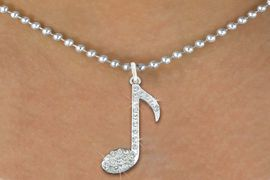 "<bR> MUSIC NOTE, EXCLUSIVELY OURS!!<Br>            AN ALLAN ROBIN DESIGN<BR>     LEAD, NICKEL & CADMIUM FREE!!<BR>            W1275N5 - ""MUSIC NOTE"" <BR>      CRYSTAL CHARM AND NECKLACE <BR>                       $9.68 EACH �2012"