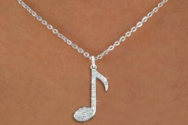 "<bR>                  EXCLUSIVELY OURS!!<Br>            AN ALLAN ROBIN DESIGN!!<BR>   CLICK HERE TO SEE 120+ EXCITING<BR>      CHANGES THAT YOU CAN MAKE!<BR>     LEAD, NICKEL & CADMIUM FREE!!<BR>        W1275SN - ""MUSIC NOTE"" <BR>      CRYSTAL CHARM AND NECKLACE <BR>         FROM $5.40 TO $9.85 �2012"