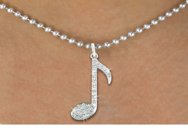 """<bR> MUSIC NOTE, EXCLUSIVELY OURS!!<Br>            AN ALLAN ROBIN DESIGN<BR>     LEAD, NICKEL & CADMIUM FREE!!<BR>            W1275N5 - """"MUSIC NOTE"""" <BR>      CRYSTAL CHARM AND NECKLACE <BR>                       $9.68 EACH �2012"""