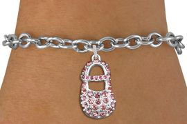"<bR>               EXCLUSIVELY OURS!!<Br>         AN ALLAN ROBIN DESIGN!! <BR>CLICK HERE TO SEE 120+ EXCITING <BR>   CHANGES THAT YOU CAN MAKE!<BR>   LEAD, NICKEL & CADMIUM FREE!! <BR>     W1276SB - ""GIRL'S BABY SHOE""  <BR> PINK CRYSTAL CHARM & BRACELET <BR>     FROM $5.40 TO $9.85 �2012"