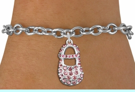 """<bR>               EXCLUSIVELY OURS!!<Br>         AN ALLAN ROBIN DESIGN!! <BR>CLICK HERE TO SEE 120+ EXCITING <BR>   CHANGES THAT YOU CAN MAKE!<BR>   LEAD, NICKEL & CADMIUM FREE!! <BR>     W1276SB - """"GIRL'S BABY SHOE""""  <BR> PINK CRYSTAL CHARM & BRACELET <BR>     FROM $5.40 TO $9.85 �2012"""