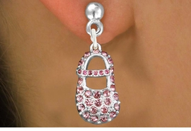 """<bR>                 EXCLUSIVELY OURS!!<Br>           AN ALLAN ROBIN DESIGN!!<BR>  CLICK HERE TO SEE 120+ EXCITING<BR>     CHANGES THAT YOU CAN MAKE!<BR>     LEAD, NICKEL & CADMIUM FREE!!<BR>    W1276SE - """"GIRL'S BABY SHOE"""" <BR>   PINK CRYSTAL CHARM EARRINGS <BR>       FROM $4.95 TO $10.00 �2012"""