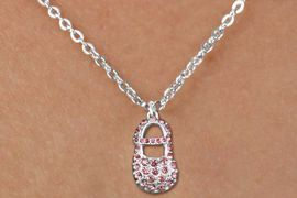 """<bR>                  EXCLUSIVELY OURS!!<Br>            AN ALLAN ROBIN DESIGN!!<BR>   CLICK HERE TO SEE 120+ EXCITING<BR>      CHANGES THAT YOU CAN MAKE!<BR>     LEAD, NICKEL & CADMIUM FREE!!<BR>  W1276SN - """"GIRL'S BABY SHOE"""" PINK <BR>CRYSTAL CHARM AND CHILDS NECKLACE <BR>         FROM $5.40 TO $9.85 �2012"""