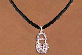 """<bR>                  EXCLUSIVELY OURS!!<Br>            AN ALLAN ROBIN DESIGN!!<BR>   CLICK HERE TO SEE 120+ EXCITING<BR>      CHANGES THAT YOU CAN MAKE!<BR>     LEAD, NICKEL & CADMIUM FREE!!<BR>        W1276SN - """"GIRL'S BABY SHOE"""" <BR>PINK CRYSTAL CHARM AND NECKLACE <BR>         FROM $5.40 TO $9.85 �2012"""