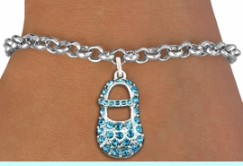 """<bR>               EXCLUSIVELY OURS!!<Br>         AN ALLAN ROBIN DESIGN!! <BR>CLICK HERE TO SEE 120+ EXCITING <BR>   CHANGES THAT YOU CAN MAKE!<BR>   LEAD, NICKEL & CADMIUM FREE!! <BR>      W1277SB - """"BOY'S BABY SHOE""""  <BR> BLUE CRYSTAL CHARM & BRACELET <BR>     FROM $5.40 TO $9.85 �2012"""