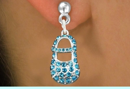 """<bR>                 EXCLUSIVELY OURS!!<Br>           AN ALLAN ROBIN DESIGN!!<BR>  CLICK HERE TO SEE 120+ EXCITING<BR>     CHANGES THAT YOU CAN MAKE!<BR>     LEAD, NICKEL & CADMIUM FREE!!<BR>     W1277SE - """"BOY'S BABY SHOE"""" <BR>   BLUE CRYSTAL CHARM EARRINGS <BR>       FROM $4.95 TO $10.00 �2012"""