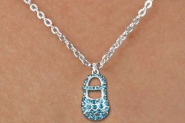 """<bR>                  EXCLUSIVELY OURS!!<Br>            AN ALLAN ROBIN DESIGN!!<BR>   CLICK HERE TO SEE 120+ EXCITING<BR>      CHANGES THAT YOU CAN MAKE!<BR>     LEAD, NICKEL & CADMIUM FREE!!<BR>        W1277SN - """"BOY'S BABY SHOE"""" BLUE <BR>CRYSTAL CHARM AND CHILDS NECKLACE <BR>         FROM $5.40 TO $9.85 �2012"""