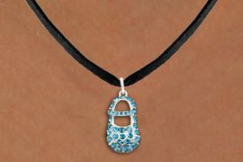 """<bR>                  EXCLUSIVELY OURS!!<Br>            AN ALLAN ROBIN DESIGN!!<BR>   CLICK HERE TO SEE 120+ EXCITING<BR>      CHANGES THAT YOU CAN MAKE!<BR>     LEAD, NICKEL & CADMIUM FREE!!<BR>        W1277SN - """"BOY'S BABY SHOE"""" <BR>BLUE CRYSTAL CHARM AND NECKLACE <BR>         FROM $5.40 TO $9.85 �2012"""