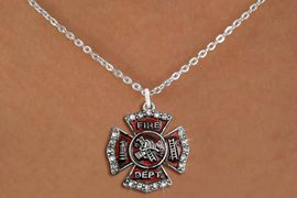 <B>FFIREFIGHTER ADJUSTABLE NECKLACE<BR>     LEAD, NICKEL & CADMIUM FREE!!<BR> W1284SN - FIRE DEPARTMENT SHIELD <BR>      CRYSTAL CHARM AND NECKLACE <BR>         FROM $6.10 TO $9.85 &#169;2012