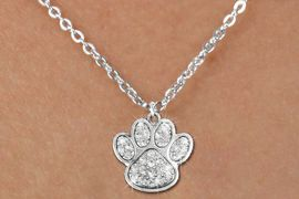"""<bR>          CHILDREN""""S PAW NECKLACE - ADJUSTABLE<Br>             <BR>     LEAD, NICKEL & CADMIUM FREE!!<BR> W1306N5 - BEAUTIFUL PAW PRINT <BR>CRYSTAL CHARM AND CHILDS NECKLACE <BR>          $8.38 EACH �2012"""