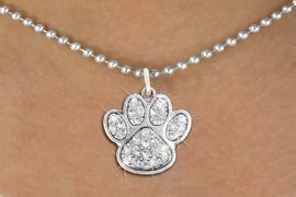 """<bR>CHILDREN""""S PAW NECKLACE - ADJUSTABLE              <Br>            <BR>NICKEL, LEAD, CADMIUM FREE<BR> W1306N5 - BEAUTIFUL PAW PRINT <BR>      CRYSTAL CHARM AND NECKLACE <BR>           $8.38 EACH �2012"""