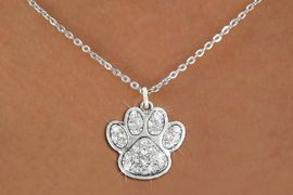 <bR>              PAW NECKLACE - ADJUSTABLE<Br>        <BR>     LEAD, NICKEL & CADMIUM FREE!!<BR> W1306N1 - BEAUTIFUL PAW PRINT <BR>      CRYSTAL CHARM AND NECKLACE <BR>           $9.38 EACH�2012