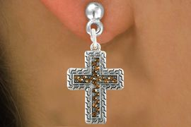 <bR>                   EXCLUSIVELY OURS!!<Br>             AN ALLAN ROBIN DESIGN!!<BR>    CLICK HERE TO SEE 120+ EXCITING<BR>       CHANGES THAT YOU CAN MAKE!<BR>                  LEAD & NICKEL FREE!!<BR>W1078SE - TOPAZ CRYSTAL CROSS CHARM<BR> EARRINGS FROM $4.95 TO $10.00 �2011