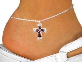 <bR>                   EXCLUSIVELY OURS!!<BR>             AN ALLAN ROBIN DESIGN!!<BR>    CLICK HERE TO SEE 120+ EXCITING<BR>       CHANGES THAT YOU CAN MAKE!<BR>                  LEAD & NICKEL FREE!!<BR>W1083SAK - RUBY CRYSTAL CROSS CHARM<Br>& ANKLET FROM $5.40 TO $9.85 �2011
