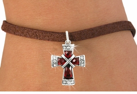 <bR>                     EXCLUSIVELY OURS!!<Br>               AN ALLAN ROBIN DESIGN!!<BR>      CLICK HERE TO SEE 120+ EXCITING<BR>         CHANGES THAT YOU CAN MAKE!<BR>                    LEAD & NICKEL FREE!!<BR>W1083SB - RUBY CRYSTAL CROSS CHARM<Br>  & BRACELET FROM $5.40 TO $9.85 �2011